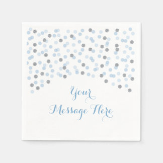 Baby Blue & Silver Confetti Baby Shower Disposable Napkins