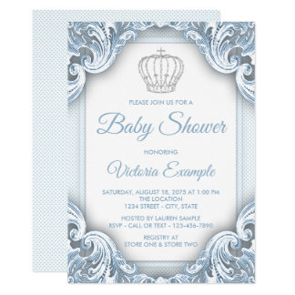Baby Blue Silver Prince Baby Shower Invitations