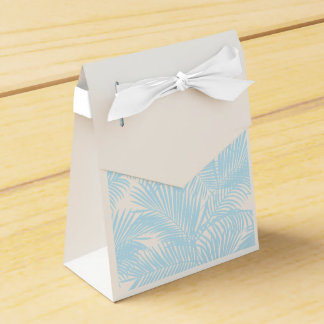 Baby blue simple modern tropical palm tree floral favour box