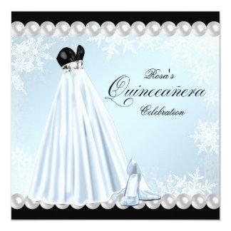 """Baby Blue Snowflake Quinceanera Invitations 5.25"""" Square Invitation Card"""