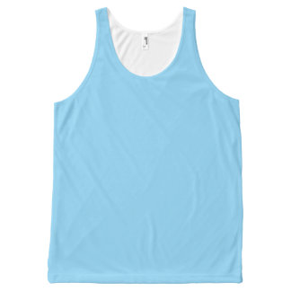 Baby Blue Solid Color All-Over Print Tank Top
