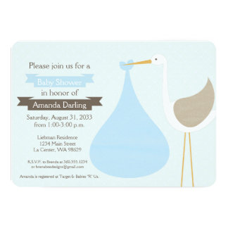 Baby Blue Stork Baby Shower Invitation