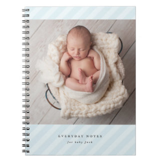 Baby blue stripe newborn everyday notebook