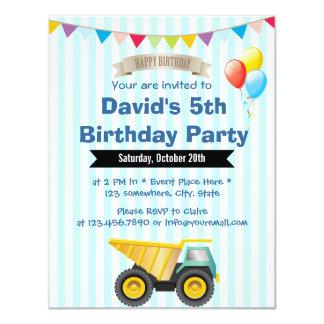 Baby Blue Stripes Boy Construction Birthday Party 11 Cm X 14 Cm Invitation Card