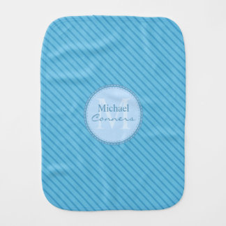 Baby Blue Stripes Custom Monogram Burp Cloth