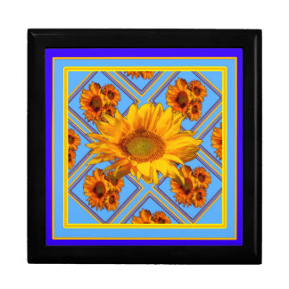 Baby Blue Sunflower Design Large Square Gift Box