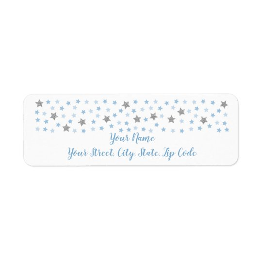 Baby Blue Twinkle Star Baby Shower Address Return Address Label