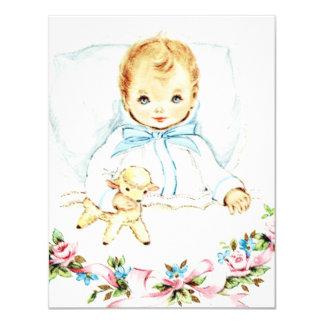 Baby Blue Vintage Baby Boy Shower 11 Cm X 14 Cm Invitation Card