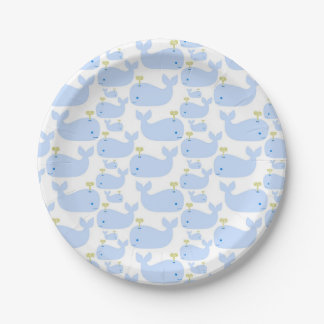 Baby Blue Whales Infant Gift Shower Paper Plate