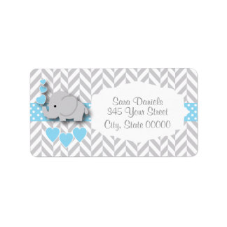 Baby Blue, White and Gray Elephant Baby Shower Address Label