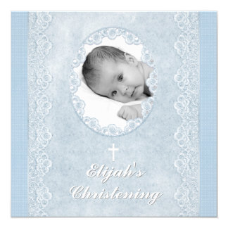 Baby Blue White Boy Photo Baptism Christening 5.25x5.25 Square Paper Invitation Card