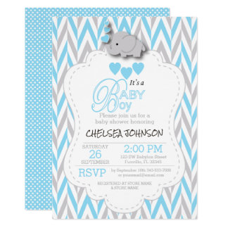 Baby Blue, White Gray Elephant Baby Shower 2 Card