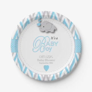 Baby Blue, White Gray Elephant Baby Shower 2 Paper Plate
