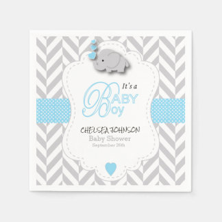 Baby Blue, White Gray Elephant Baby Shower Disposable Serviettes