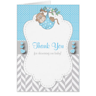 Baby Blue, White Gray Monkey Baby Shower Thank You Card
