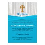 Baby Blue & White Satin Baptism / Christening 13 Cm X 18 Cm Invitation Card
