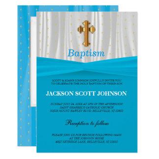 Baby Blue & White Satin Baptism / Christening Card