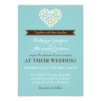 "Baby Blue White Small Hearts Wedding Invitation 5"" X 7"" Invitation Card"