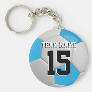 Baby Blue & White Team Soccer Ball Basic Round Button Key Ring