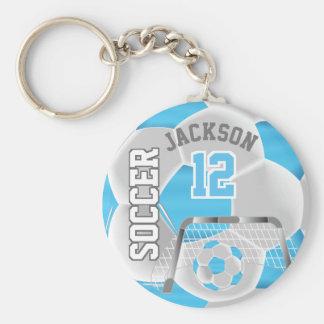 Baby Blue & White Team Soccer Ball Key Ring