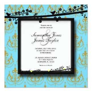 "Baby Blue with Birds Damask Elegant Vintage Weddin 5.25"" Square Invitation Card"