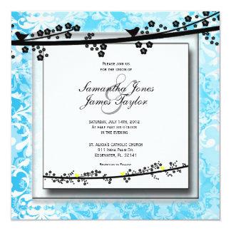 Baby Blue with Birds Damask Elegant Vintage Weddin Custom Announcements