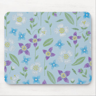 Baby Blue with Floral Stitching Mouse Pad