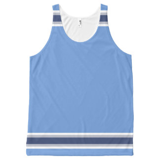 Baby Blue with White Gray and Navy Trim Unisex All-Over Print Tank Top