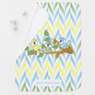 Baby Blue, Yellow and Green Pastel Squirrels Baby Blanket