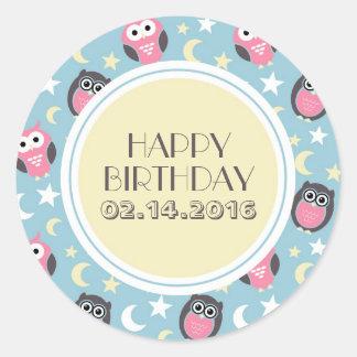 Baby Blue Yellow Night Owl Happy Birthday Sticker