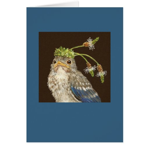 Baby bluebird with English plantain card