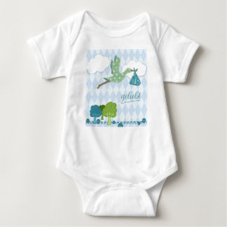 "Baby Body with stork and print ""loved "" Baby Bodysuit"