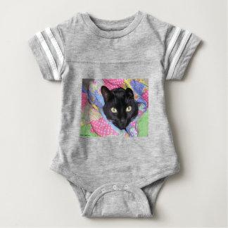 Baby Bodysuit: Funny Cat wrapped in Blankets Baby Bodysuit