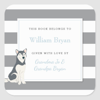 Baby Bookplate Grey Stripes with Husky Dog Square Sticker