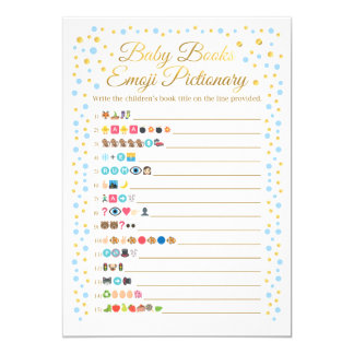 Baby Books Emoji Pictionary Game Blue and Gold Card