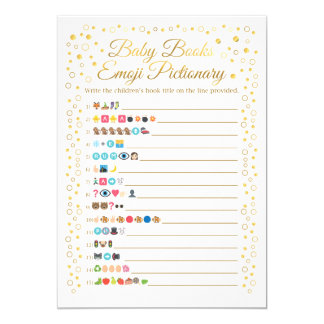 Baby Books Emoji Pictionary Game Gold Baby Shower Card