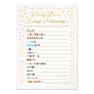 Baby Books Emoji Pictionary Game Pink and Gold Card