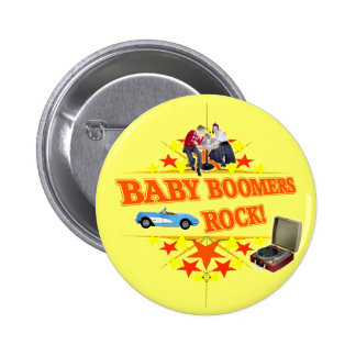 Baby Boomers Rock Pinback Buttons
