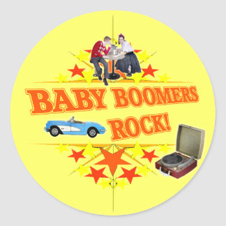 Baby Boomers Rock Classic Round Sticker