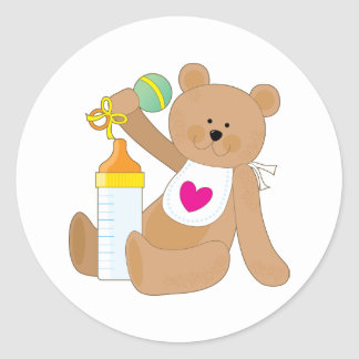 Baby Bottle and Bib Classic Round Sticker