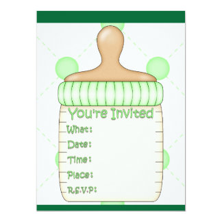 Baby Bottle Baby Shower for Girl or Boy 6.5x8.75 Paper Invitation Card