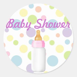 Baby Bottle & Polka Dots Baby Shower Sticker/seal Round Sticker