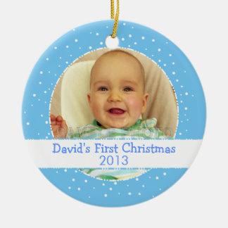 Baby Boy 1st Christmas Blue Round Photo Ornament