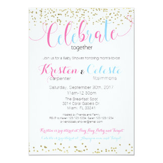 Baby Boy and Girl Combined Baby Shower Invitation