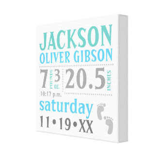 Baby boy Announcement, blue, green, grey Canvas Print