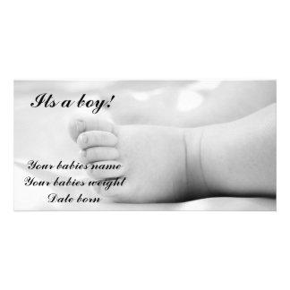 Baby boy announcement card customized photo card