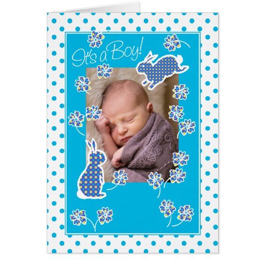 Baby Boy Announcement Photo Card Cute Bunny Rabbit