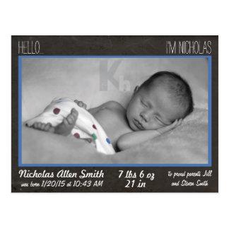 Baby Boy Announcement postcard