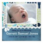 Baby Boy Baby announcement 13 Cm X 13 Cm Square Invitation Card