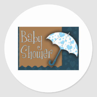 Baby boy baby shower round sticker